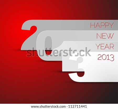 Blue and white Happy New Year 2013 vector card - stock vector