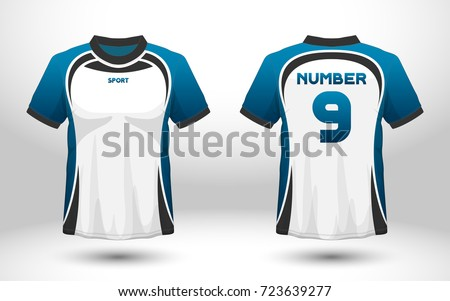 Blue white layout football sport tshirt stock vector for Stock t shirt designs