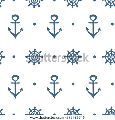 Blue and white nautical template with anchor and wheel  - stock vector