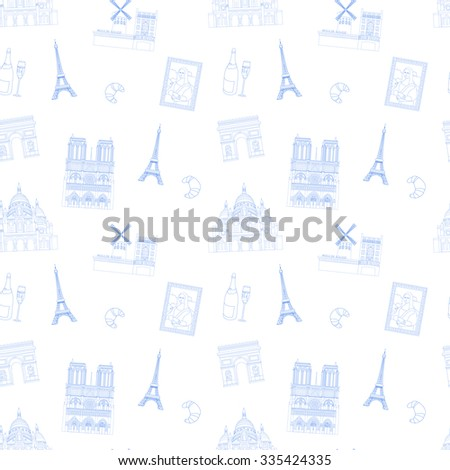 Blue and white Paris vector seamless pattern hand-drawn landmarks illustration  background - stock vector