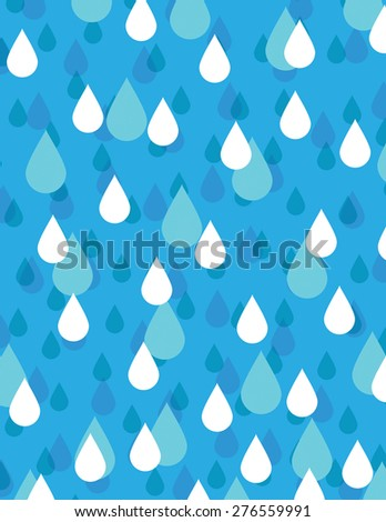Blue and white rain drops over blue background - stock vector