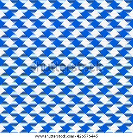 Blue and white seamless checkered tablecloth. Traditional gingham pattern, checkered fabric, tablecloth texture. Vector illustration.  - stock vector