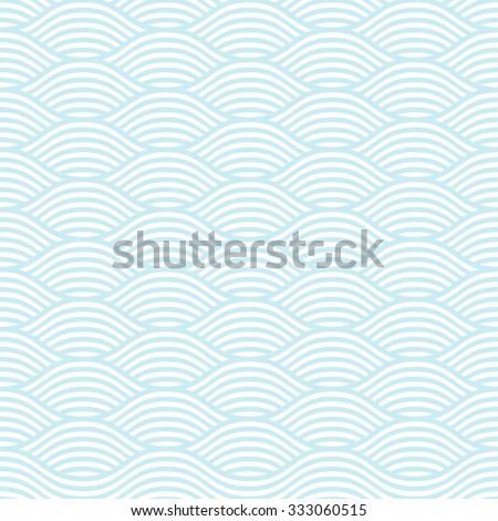 Blue and white seamless wave pattern, linear design - vector illustration