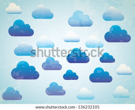 Blue and white sky, blue background vector illustration