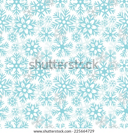 Blue and white snowflakes christmas seamless pattern, vector - stock vector