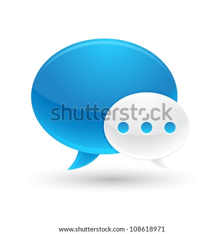 Blue and White Speech Bubbles Icon - stock vector