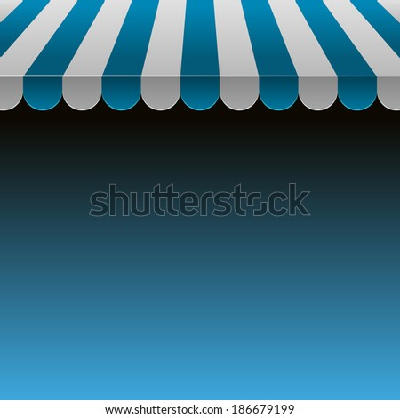 Blue and White Strip Shop Awning with Space for Text.Vector - stock vector