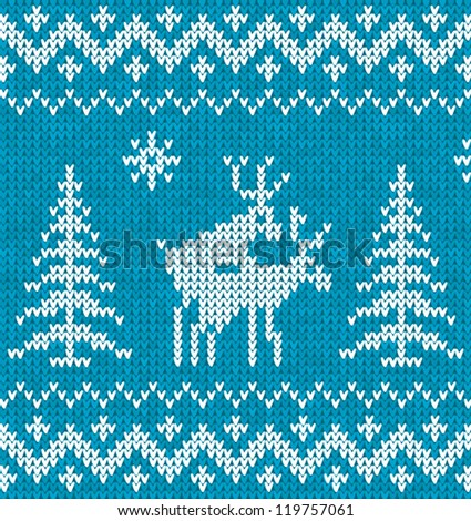 """Blue and white """"sweater with deer"""" seamless pattern - stock vector"""