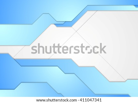 Blue and white tech corporate abstract background. Vector brochure template graphic design