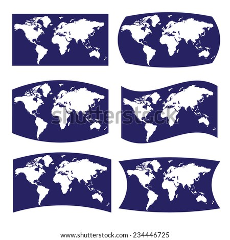 blue and white various view on map of world eps10 - stock vector