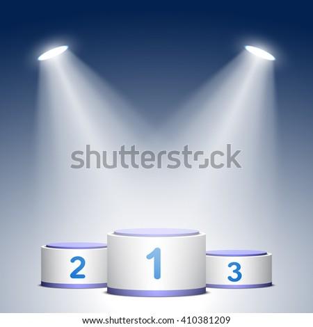 Blue and white winners podium. Pedestal. Cylinder. Spotlight. 3D. Vector illustration. - stock vector