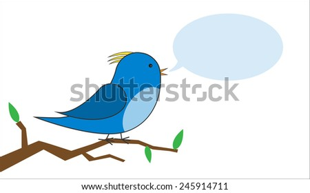 blue and yellow bird on a branch with a speech bubble vector
