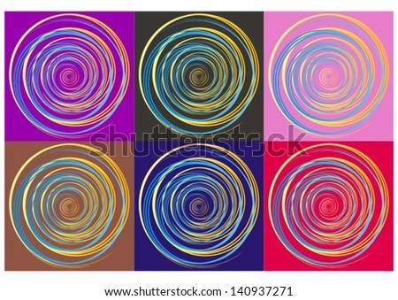 Blue and yellow gradient spiral on six different colorful backgrounds - stock vector