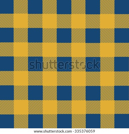 Blue and yellow lumberjack plaid seamless pattern, vector illustration
