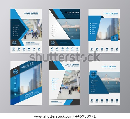 Blue annual report brochure flyer design template vector, Set of leaflet cover presentation abstract flat background, layout in A4 size - stock vector