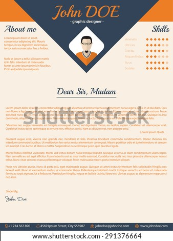 Blue Arrow Cover Letter Cv Resume Template Design  Cover Letter Or Resume