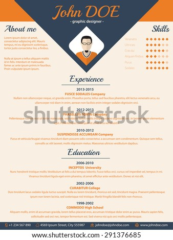 Blue arrow cv resume curriculum vitae  template design - stock vector