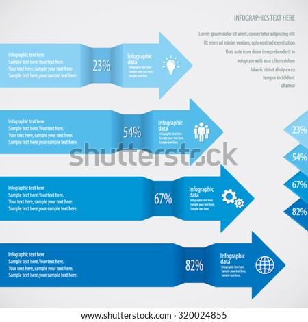 Blue Arrow Infographic Background - Icons and arrows for 4 options. EPS10 vector. - stock vector