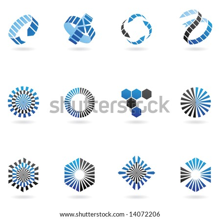 blue arrow logos to go with your company name (set of 12) - stock vector
