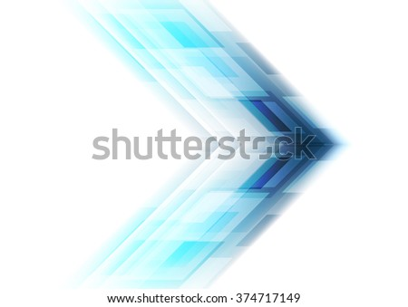 Blue arrow tech background. Vector template graphic design - stock vector