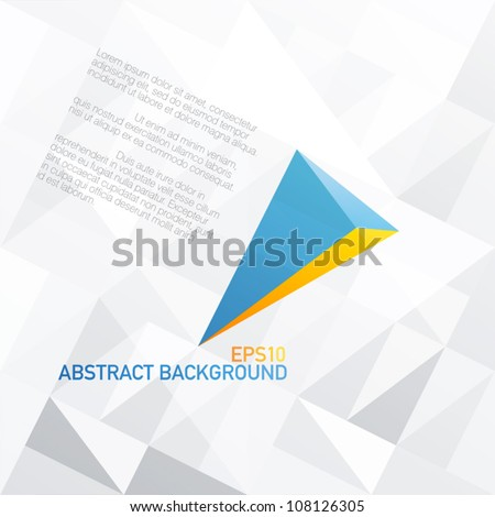 Blue arrow with orange accent. Abstract background design, vector, EPS10 - stock vector