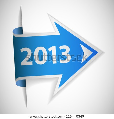 Blue arrow with year 2013 - stock vector
