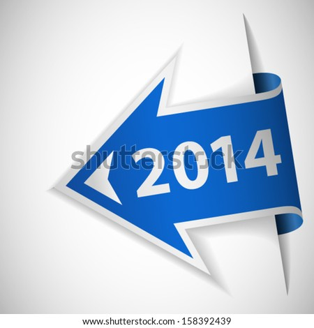 Blue arrow with year 2014