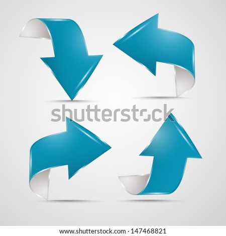 Blue arrows on grey background - stock vector