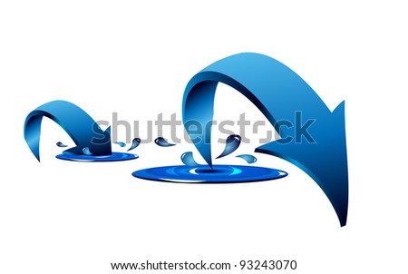 Blue arrows with splash and drops - stock vector