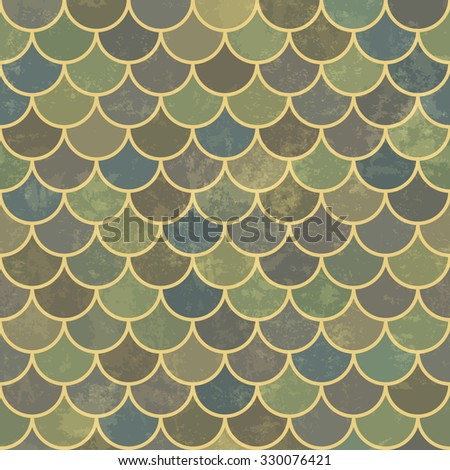 Blue asian fish scale retro pattern. Grunge and seamless. Grunge effects can be easily removed. - stock vector