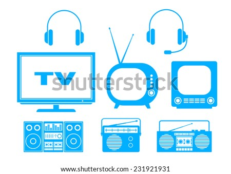Blue audio and TV icons on white background  - stock vector