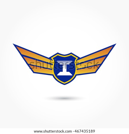 blue aviation logo with gradient wings