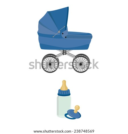 Blue baby carriage, feeding bottle and pacifier, collection, isolated on white - stock vector