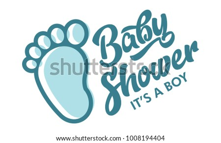 Blue Baby Foot Baby Shower Invite Stock Vector Royalty Free