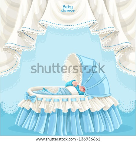 Blue baby shower card with cute little baby in the crib - stock vector