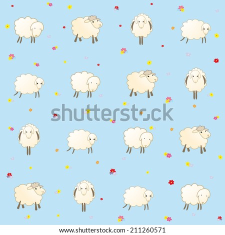 blue baby wallpaper with sheep - stock vector