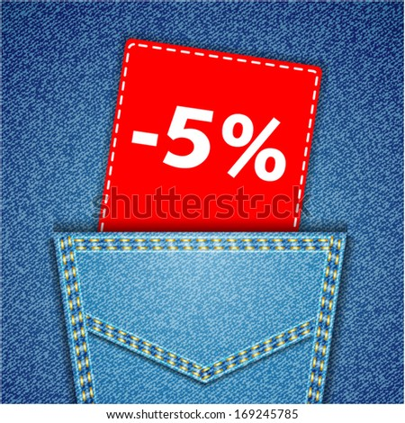 Blue back jeans pocket realistic denim texture with number percent sale tag - stock vector