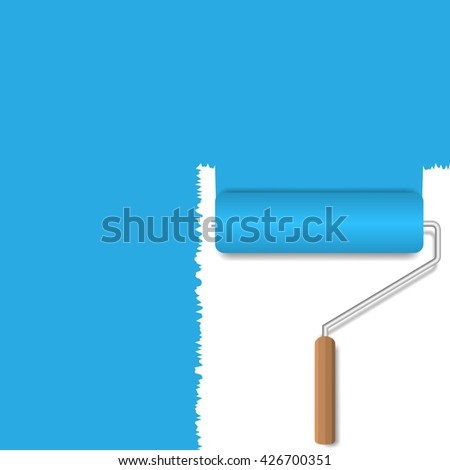 Blue background. Blue paint. Realistic roller brush - stock vector