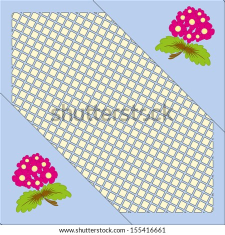 blue background color of a frame with flowers - stock vector