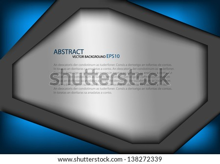 Blue background frame vector illustration metal texture pattern for text and message board design dimension overlap eps10 infographic - stock vector