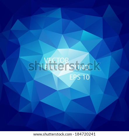 Blue background of triangular polygons. Eps 10. Vector illustration. - stock vector