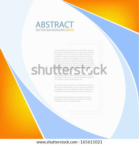 blue background vector blue and orange line curve for text and message design