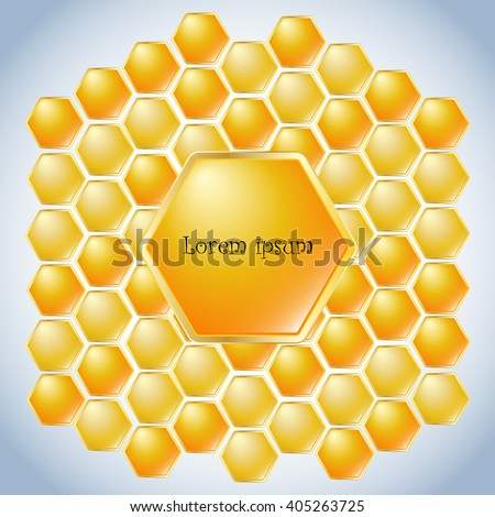 blue background with a golden bee honeycomb - stock vector