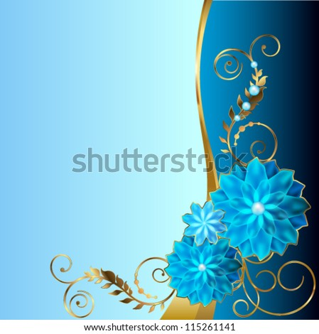 Blue background with angular floral vignette - stock vector