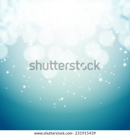 blue background with bokeh effects and stars  - stock vector