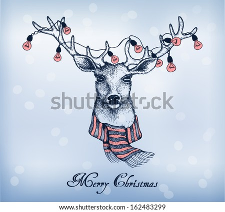 Blue background with christmas santa reindeer. Hand-drawn card. Vector illustration in a sketch style. - stock vector