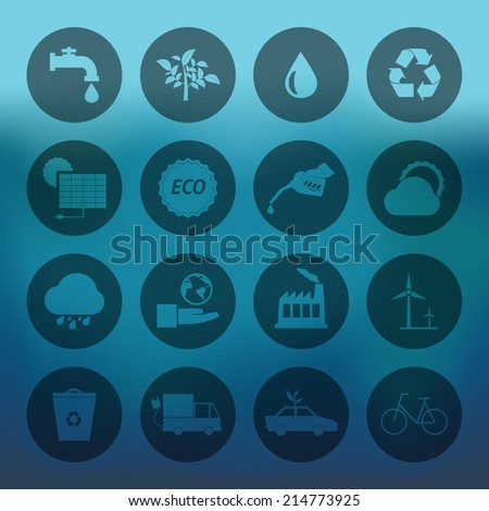 Blue background with circle Eco energy icons set - stock vector