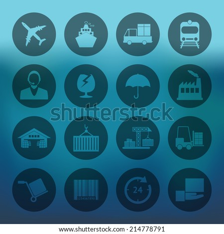 Blue background with circle Logistics icons set - stock vector