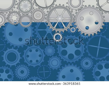 Blue background with cogs and gears.