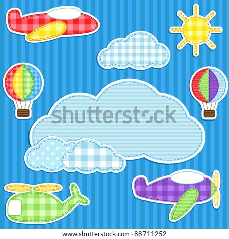 Blue background with cute plane, helicopter, aeroplane, balloon, clouds and sun and place for text - stock vector